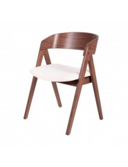 Silla moderna de madera de nogal tapizada en color gris, marrón o beige.