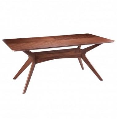 Mesa de comedor rectángular de madera en color nogal.
