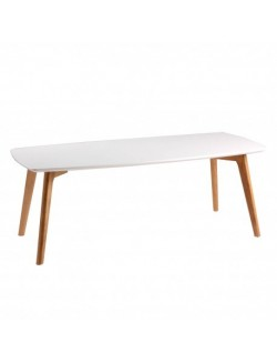 Mesa de centro de madera estilo nórdico color blanco y patas color roble.