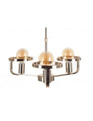 Lámpara de techo de diseño dorada moderna con tres brazos.