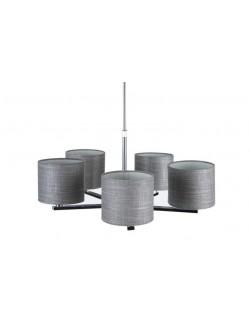 Lámpara de techo de diseño plateada moderna con cinco brazos con pantalla en tela gris.