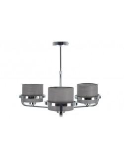 Lámpara de techo plateada moderna altura regulable con tres brazos con pantallas en tela gris.