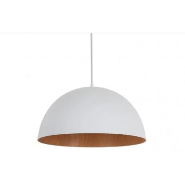 Lámpara de techo colgante color blanco y madera natural.