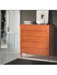 Mueble cómoda con patas y cinco cajones de madera en acabado cerezo, roble, blanco...