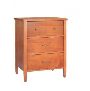 Mueble mesilla con patas y tres cajones de madera en acabado cerezo, roble, blanco...