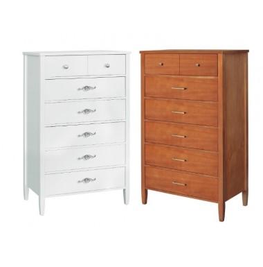Mueble sinfonier con patas y seis cajones de madera en acabado cerezo, roble, blanco...