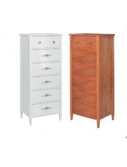 Mueble sinfonier pequeño con patas y seis cajones de madera en acabado cerezo, roble, blanco...