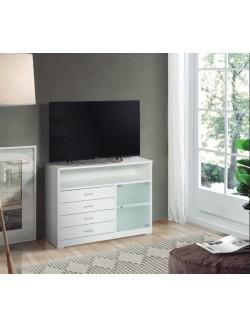 Mesa de televisión alta con cuatro cajones y tres huecos poco profunda.