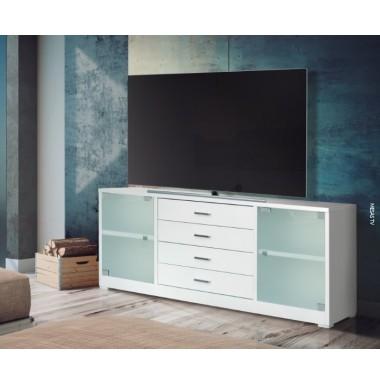 Mesa de televisión de 120 cm con cuatro cajones y cuatro huecos poco profunda.