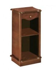 Mesita estrecha clásica con un cajón y un estante.
