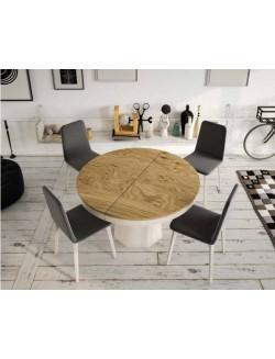 Mesa de comedor de madera redonda y con dos extensibles.