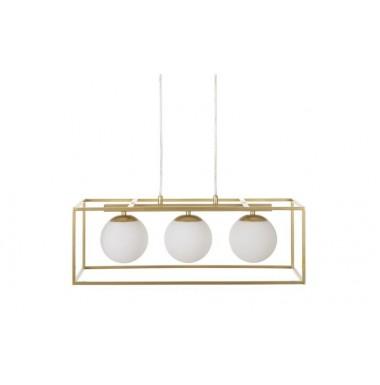 Lámpara de techo tres globos estructura dorada de metal.