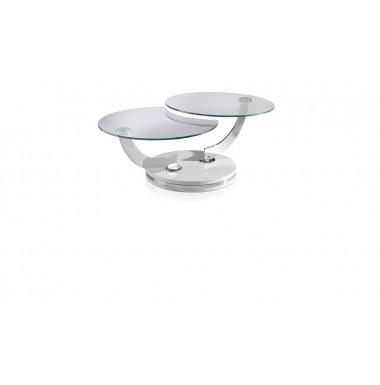 Mesa de centro moderna redonda articulada de cristal templado y acero cromado.