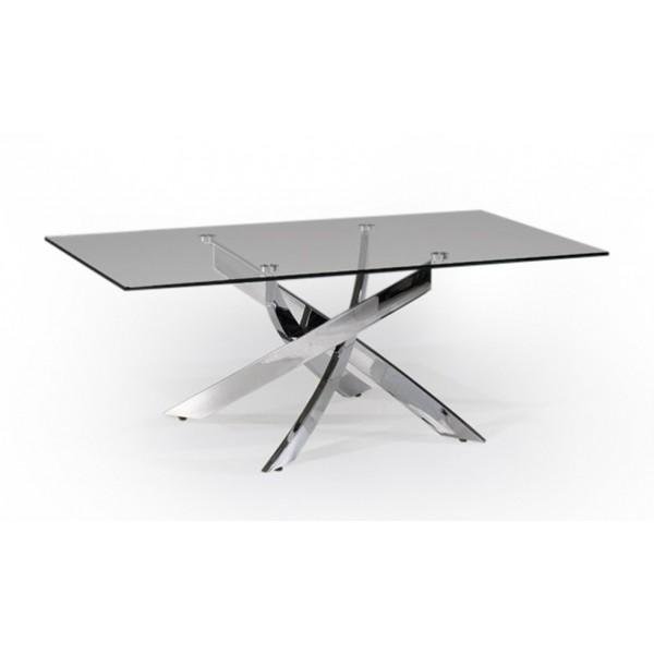 Mesa de centro moderna rectangular de cristal templado con - Patas para mesa de cristal ...