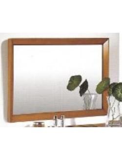 Espejo rectangular con marco en madera de cerezo y luna biselada.