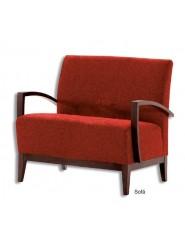 Sofá pequeño auxiliar tapizado en tela o ecopiel con brazos, zócalo y patas en madera de haya.