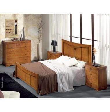 Conjunto de dormitorio de madera de cerezo compuesto por cabecero dos mesillas c moda y espejo - Cabecero y mesillas ...