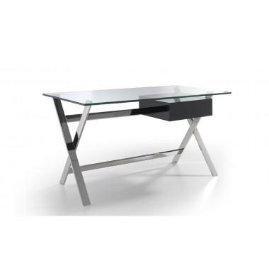 Mesa de despacho con tapa de cristal templado y estructura de acero inoxidable cromado. Cajón lacado en negro o blanco.