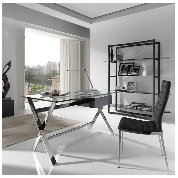 Mesa de despacho con tapa de cristal templado y estructura de acero inoxidable cromado caj n - Mesa cristal despacho ...
