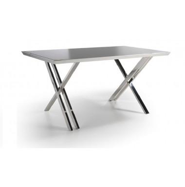 Mesa de despacho con tapa de cristal templado y estructura de acero inoxidable cromado - Mesas despacho cristal ...