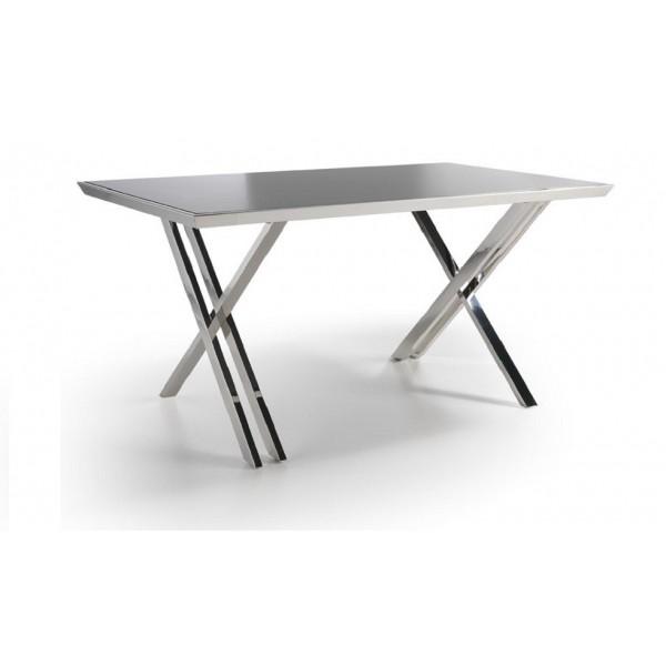 Mesa de despacho con tapa de cristal templado y estructura - Mesas acero y cristal ...