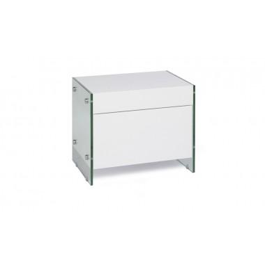 Mesilla de madera lacada en blanco con laterales de cristal templado.