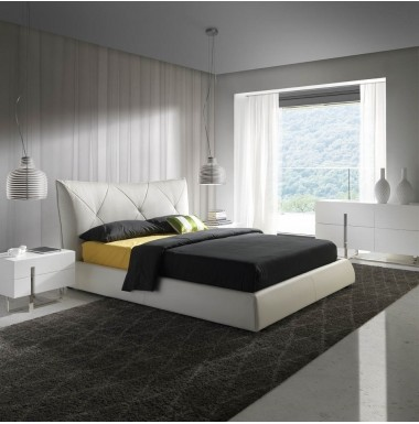 Conjunto de dormitorio moderno con cama tapizada en - Dormitorios blancos modernos ...