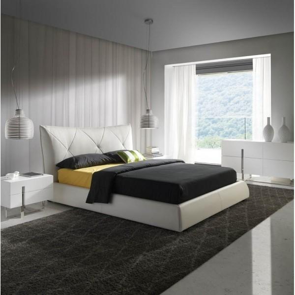 Conjunto de dormitorio moderno con cama tapizada en for Mesillas blancas