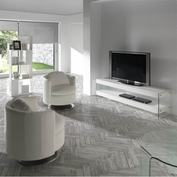 Mueble de t v moderno de madera de fresno lacado blanco for Mueble comedor minimalista