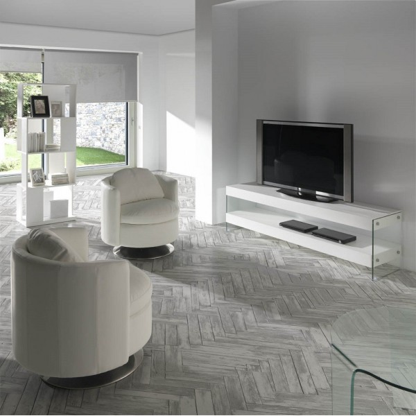 mueble de t v moderno de madera de fresno lacado blanco