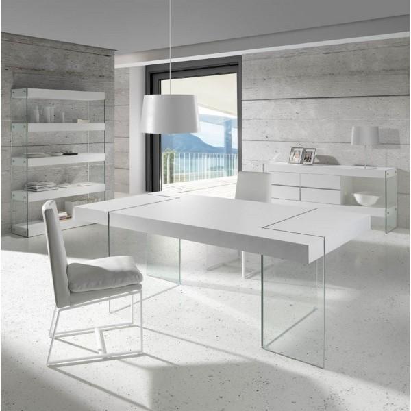 Estanter a de madera de fresno lacado blanco con laterales for Salon comedor lacado blanco