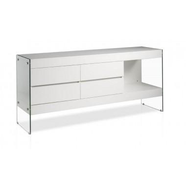 Aparador moderno lacado blanco con cajones y laterales de cristal templado.