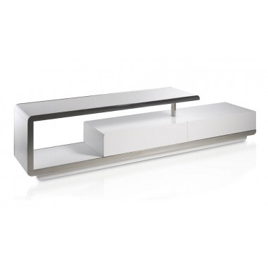 Mueble de t v moderno lacado blanco con frontal de acero for Mueble tv lacado blanco