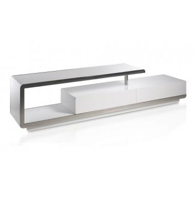 Mueble de T.V. moderno lacado blanco con frontal de acero cromado.