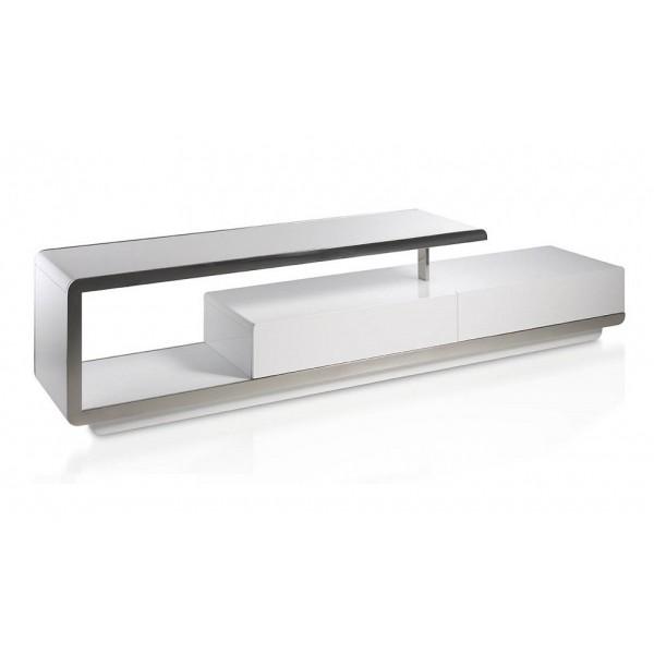 mueble de tv moderno lacado blanco con frontal de acero cromado