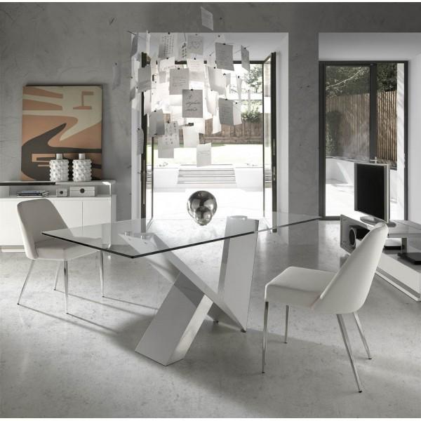 Mueble de t v moderno lacado blanco con frontal de acero for Mesas y sillas de salon modernas