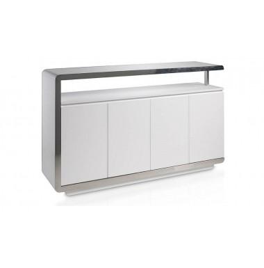 Aparador moderno lacado blanco con frontal de acero inoxidable cromado.
