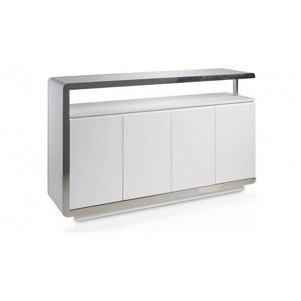 Aparador moderno lacado blanco con frontal de acero - Fotos de aparadores ...