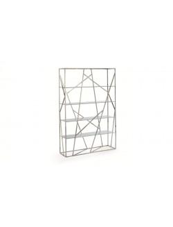 Estantería moderna con estructura de acero inoxidable cromado y baldas de cristal templado.