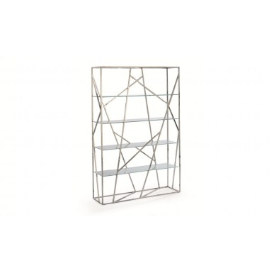 Estanter a moderna con estructura de acero inoxidable - Baldas de cristal ...