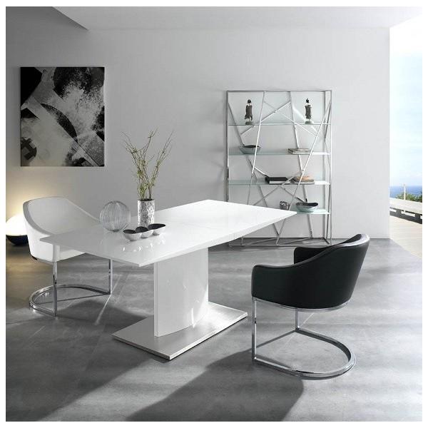 Estanter a moderna con estructura de acero inoxidable - Estanterias con cristal ...