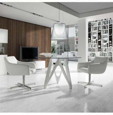 Mesa de comedor redonda con tapa de cristal templado y for Mesas de comedor de vidrio redondas