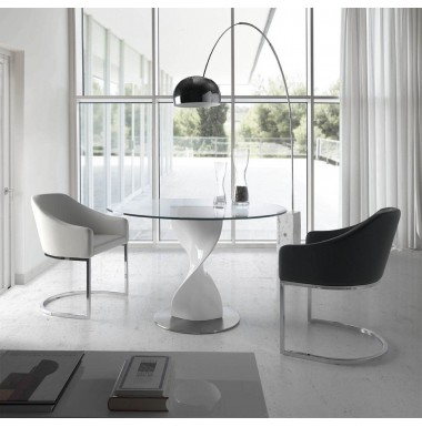 Mesa de comedor redonda con tapa de cristal templado y pie central ...
