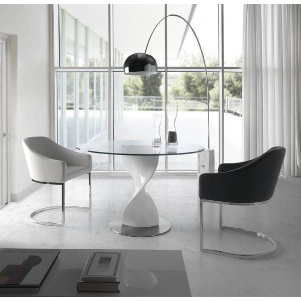 Mesa de comedor redonda con tapa de cristal templado y pie for Mesas de comedor redondas de cristal