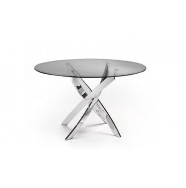 Mesa de comedor redonda con tapa de cristal templado y base de acero cromado.