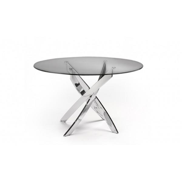 Mesa de comedor redonda con tapa de cristal templado y - Mesa comedor redonda cristal ...