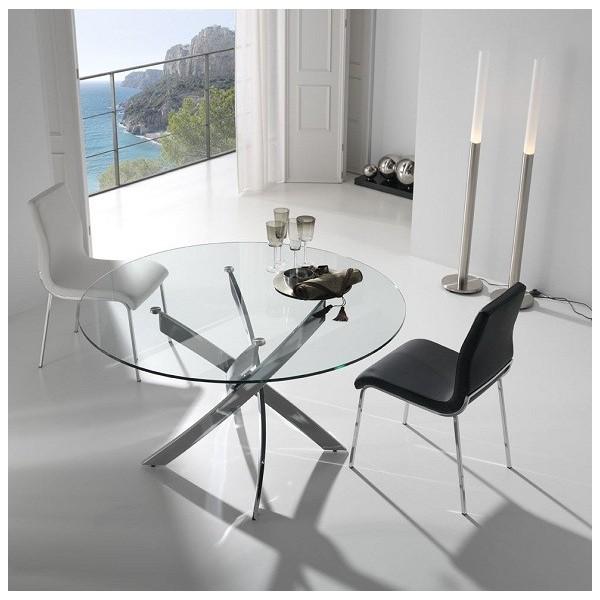 Mesa de comedor redonda con tapa de cristal templado y - Mesas acero y cristal ...