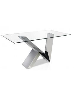 Mesa de comedor rectángular moderna con tapa de cristal templado y base de acero cromado.
