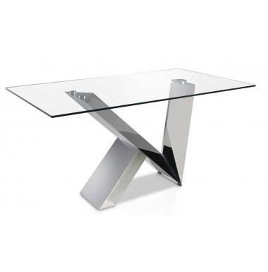 Mesa de comedor rect ngular moderna con tapa de cristal - Mesas acero y cristal ...