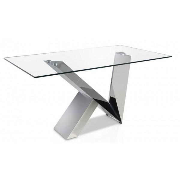 Mesa de comedor rect ngular moderna con tapa de cristal - Mesas de cristal y acero ...